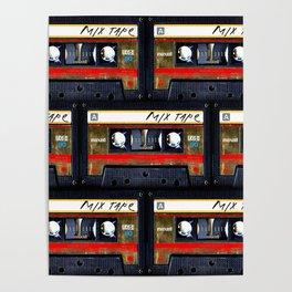 Retro classic vintage gold mix cassette tape Poster