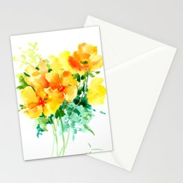 California Poppies, floral home decor Stationery Cards