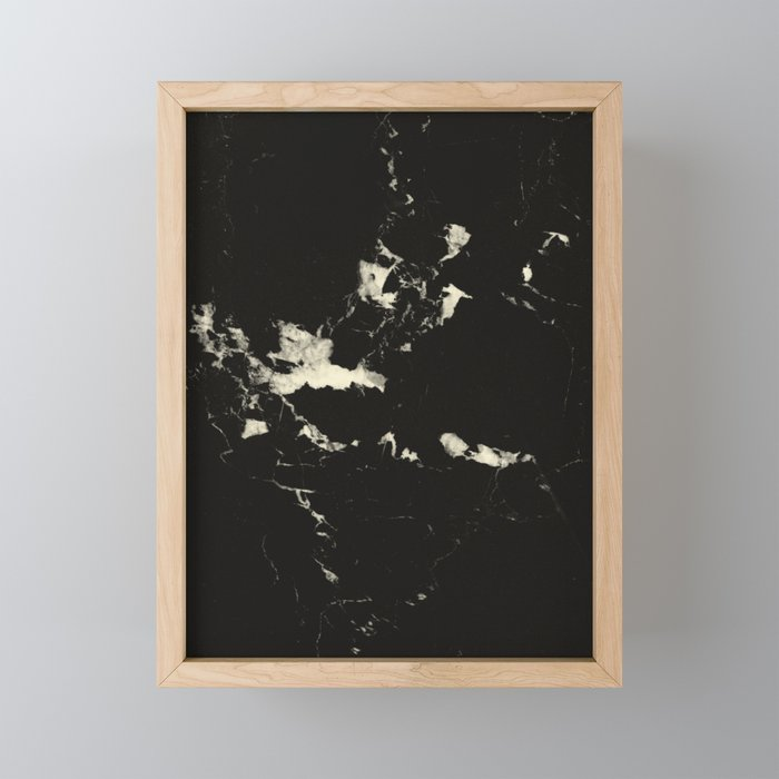 Black Marble and Blush Yellow #1 #decor #art #society6 Framed Mini Art Print
