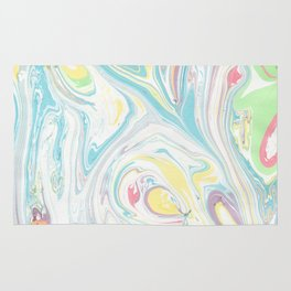 Hand painted abstract green yellow pink teal watercolor marble Rug