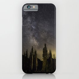 Night Sky over Paradise at Mount Rainier with Shooting Stars iPhone Case