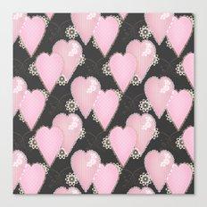 Retro . Applique. Textile pink hearts on a grey background . Patchwork . Canvas Print