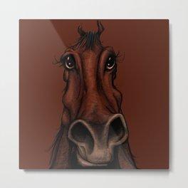 Brown Horse Sketch Metal Print