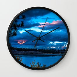 California USA June Lake Nature Scenery Night Rivers Clouds landscape photography river night time Wall Clock