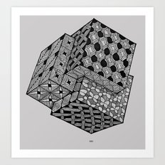 Interlocking Cube Grid Art Print