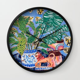 Cheetah and Lion House Plant Still Life Painting with Rainbow Wall Clock