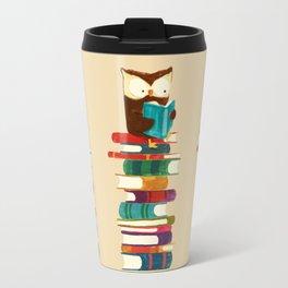 Owl Reading Rainbow Travel Mug