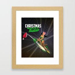Christmas Pin-Up - Search & Destroy Rocket Framed Art Print