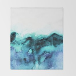 Abstract teal purple watercolor Throw Blanket