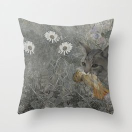 Cat work Throw Pillow