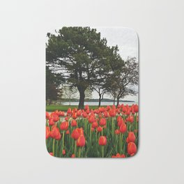 Tulips and the Trees by the Lake Bath Mat