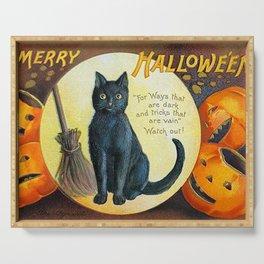 Merry Halloween Black Cat Serving Tray