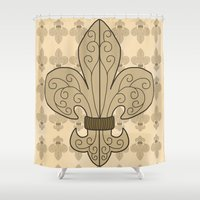 fleur de lis Shower Curtains featuring Fleur de Lis by eMJay Digital Art