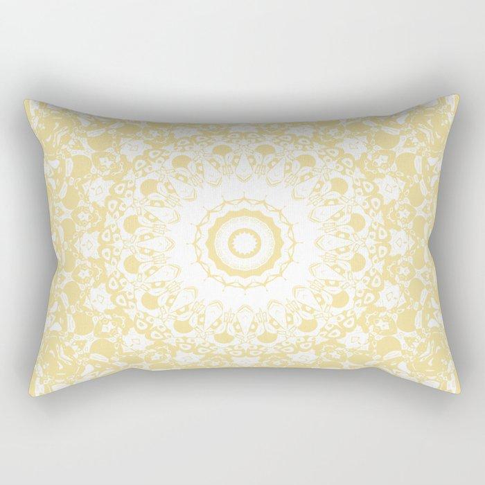White Lace Mandala on Sunshine Yellow Background Rectangular Pillow