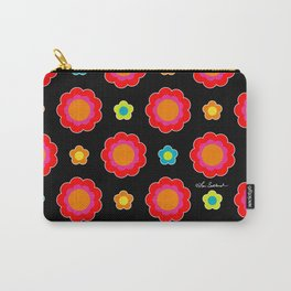 Colorful Flowers on Black Carry-All Pouch