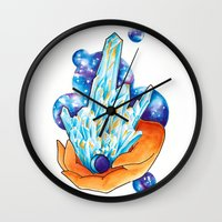crystals Wall Clocks featuring Crystals by missfortunetattoo