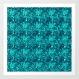 Teal Flowers Art Print