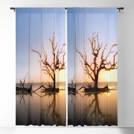 Driftwood Reflection Along the Waters Edge on Jekyll Island Beach Blackout Curtain
