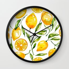 lemon watercolor Wall Clock