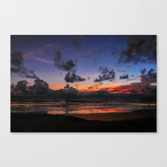 Beach Sunset - Painted Effect Canvas Print