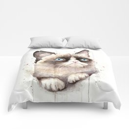 Grumpy Watercolor Cat Animals Meme Geek Art Comforters