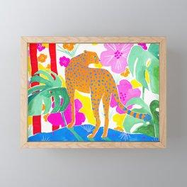Jaguar in Tropical Garden Framed Mini Art Print