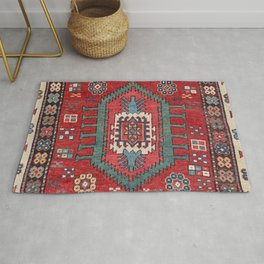 Tribal Honeycomb Palmette IV // 19th Century Authentic Colorful Red Flower Accent Pattern Rug
