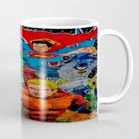 superheros Mugs featuring Heroes Unite by JayKay