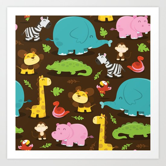 Happy Jungle Animals Pattern Background Art Print