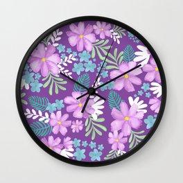 Watercolor flower bouquets- purple Wall Clock
