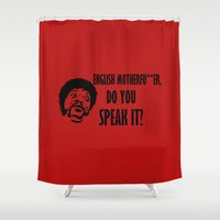 pulp fiction Shower Curtains featuring english .... pulp fiction by Buby87