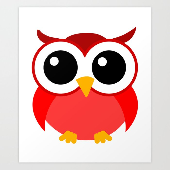 Owl Cartoon Nocturnal Predator Bird Funny Bird Lover Art ...