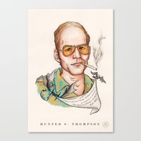 hunter s thompson Canvas Prints featuring Hunter S Thompson - Quote by Sally Ridge