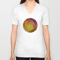 burgundy V-neck T-shirts featuring Burgundy and Olive Abstract by Jan4insight