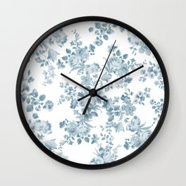 Vintage blue white bohemian elegant floral Wall Clock