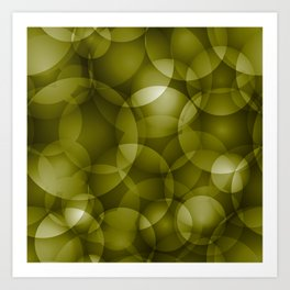 Dark intersecting translucent olive circles in bright colors with an oily glow. Art Print