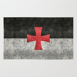 Knights Templar Symbol with super grungy textures Rug