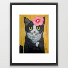 SMOKING KITTY Framed Art Print