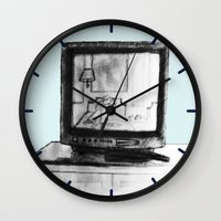 tv Wall Clocks featuring Television by Brontosaurus