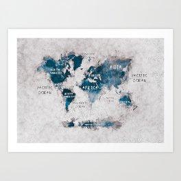 world map 13 #worldmap #map #world Art Print