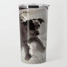 Puppy on Bed Travel Mug