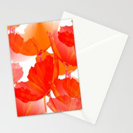 Red Poppies On A White Background #decor #society6 #buyart Stationery Cards