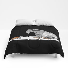 Tapir meets Turtle, Cute Animal Illustration, Black & White with Copper Metallic Accent Funny Turtle Comforters