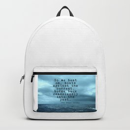 So we beat on - Gatsby quote on the dark ocean Backpack