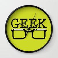 geek Wall Clocks featuring Geek by Farah Saheb