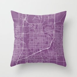 Sioux Falls Map, USA - Purple Throw Pillow