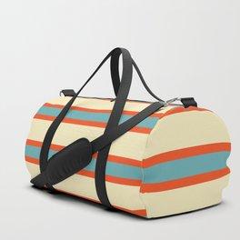 70s Style Blue Beige Orange Retro Stripes Radha Duffle Bag