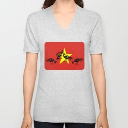 Vietnam Flag, Roosters Sparring Unisex V-Neck