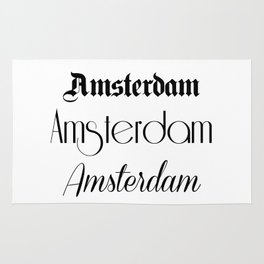 Amsterdam City Quote Sign, Calligraphy Text Art, World City Typography Print, Wall Art Decor Rug