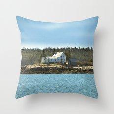 Lighthouse Island - Maine Throw Pillow